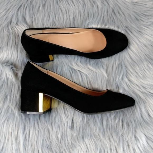 Black Slip On Gold Block Heels